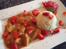 Rhabarber-Erdbeer-Kokossauce mit Fleisch - Rezept