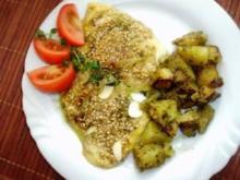 Gebratener Basilikum-Käse in Sesam-Mandelpanade - Rezept