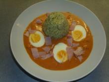 Tellergerichte: Eier in Tomatensosse und Kräuterreis - Rezept