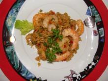 Fisch : - Gemüserisotto mit Langostinos - Rezept
