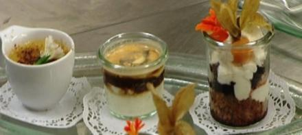 Cognaccrème mit Espresso, Zimt-Crème brûlée, Spekulatius-Kirschtörtchen - Rezept