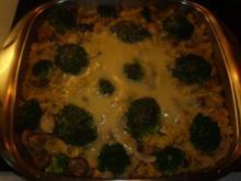 Aufläufe: Nudelauflauf mit Champignons und Broccoli - Rezept