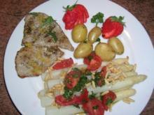 Spargel mit Zitronen-Kalbsschnitzel und Tomaten-Vinaigrette - Rezept