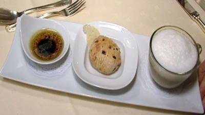 Rezept: Latte Macchiato vom Steinpilz dazu ein Tomatenbrot