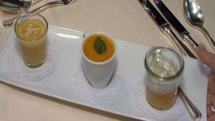 Trilogie von Kürbissuppen – aus Hokkaido-, Butter- und Muskatkürbis - Rezept