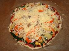 bunte Pizza m. Quark-Öl-Teig - Rezept