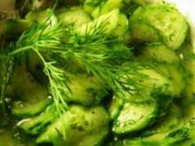 Gurkensalat süß-sauer mit Dill - Rezept