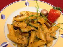 """""""Penne Honey"""" - Nudelpfanne mit Hühnchen und Gemüse - Rezept"""