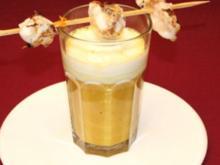 Orangen-Linsen-Suppe mit Wasabi-Sahne-Häubchen und Seeteufel-Spieß - Rezept