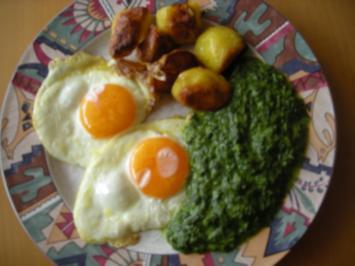 Spinat, Spiegelei & Bratzkartoffeln - Rezept