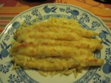 Spargel auf Putenschnitzel mit Käse überbacken - Rezept
