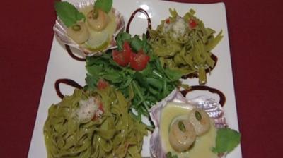 Jacobsmuscheln mit Minze und grünen Tagliatelle (Mia Gray) - Rezept