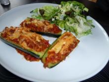 Überbackene Zucchini mit Hackfleisch und Pilzen - Rezept