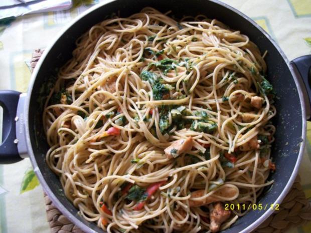 Spaghetti mit Rucola und Hähnchenbruststreifen - Rezept - Bild Nr. 2