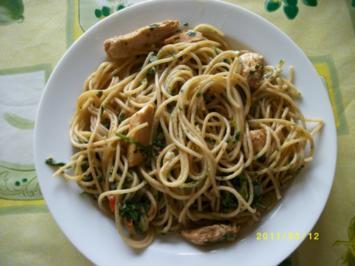 Spaghetti mit Rucola und Hähnchenbruststreifen - Rezept