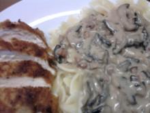 Hähnchenbrustfilet mit Champignon-Weisswein-Sosse - Rezept
