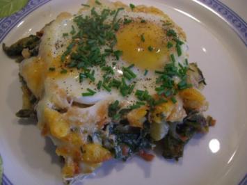 Rezept: ~ Fleischlos ~ Spinat - Knöpfle - Topf überbacken