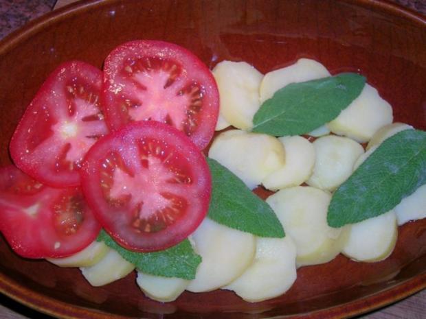 Puten Saltimbocca mit Kartoffel-Tomaten-Gratin - Rezept - Bild Nr. 3