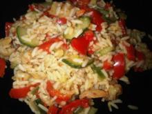 Riesengarnelen-Gemüse-Reis-Pfanne - Rezept