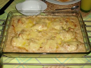 Putenschnitzel mit Champignonkruste überbacken - Rezept
