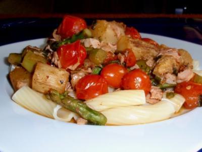 Spargel-Tomaten-Schinken-Pfanne mit Rigatoni - Rezept