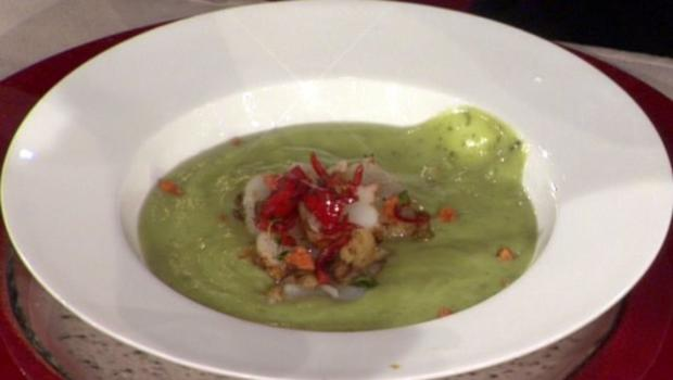 Avocadosuppe mit Chili-Garnelen à la Zacherl - Rezept