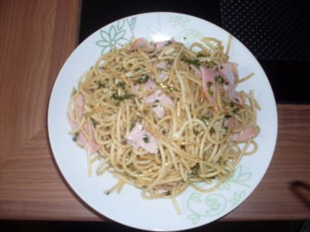 Spaghetti mit Basilikum und Knobi - Rezept