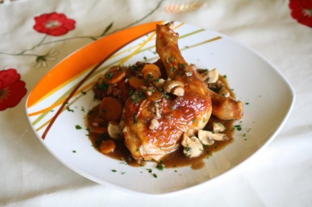 Französisches Hähnchen in Rotwein - Rezept