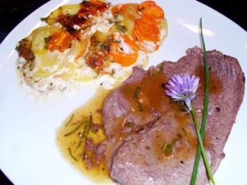 Fleisch: Kalbsschnitzel in Quitten-Rosmarin-Sauce - Rezept