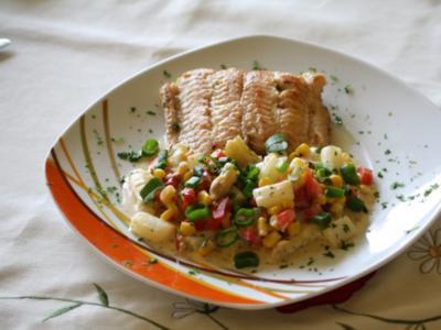 Buntes Spargelragout mit Fischfilet - Rezept