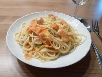 Spaghetti mit Lachs-Zitronen-Sauce - Rezept