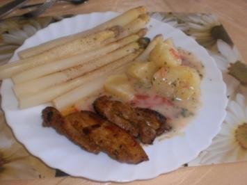 Spargel weiß - Kammscheiben - -Schweinbauchscheiben- Tomaten-Béchamel - Rezept