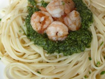 Pesto - Pasta mit Garnelen - Rezept