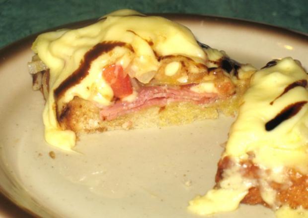 Snack/Brot - Toast mit Tomaten, Zwiebeln und rohem Schinken - Rezept - Bild Nr. 6