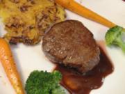 Keitumer Galloway-Filet mit Brokkoli, Honig-Pfeffer-Möhren und Kartoffelgratin - Rezept