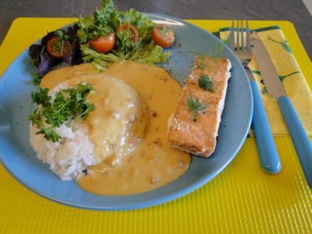 Lachs in Senfsauce mit Speck und Reis - Rezept