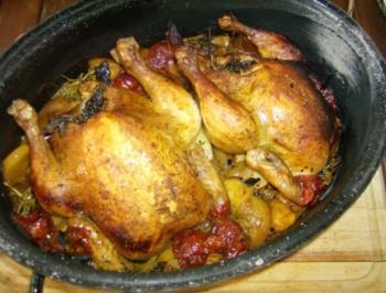 Huhn unter Peka auf offenem Feuer - Rezept