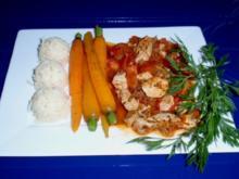 Filetstreifen in Tomatensugo mit glasierten Karotten und Basmatireis - Rezept