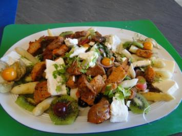 Spargelsalat mit Himbeeren und Himbeeressig, - Rezept