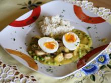 Pilz-Erbsen-Curry mit Eiern - Rezept