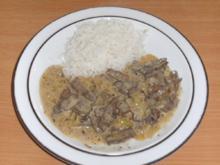 Fleisch: Rinderleber, geschnetzelt, in Estragonsauce - Rezept