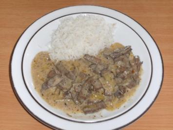 Rezept: Fleisch: Rinderleber, geschnetzelt, in Estragonsauce