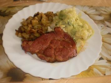 Kasseler zum Blumenkohl-Poree-Gemüse und Bratkartoffeln - Rezept