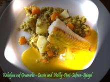 Kabeljau auf Gruenerbs-Cassée und Noilly-Prat-Safran-Spiegel - Rezept