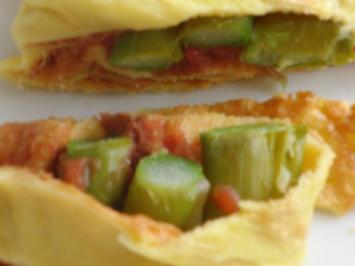 Vegetarisch : Spargel im Pfannkuchen, auf dem Backblech in der Röhre - Rezept