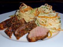 Schweinefilet mit Gemüse-Spaghetti - Rezept