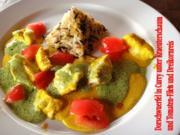 Kabeljau-Wuerfel in Curry unter Kraeuterschaum und Tomatenfilets mit Dreikornreis - Rezept