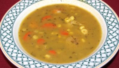 Curry-Mais-Cremesuppe mit gegrillten Garnelen und Jakobsmuscheln - Rezept