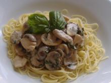 Filetspitzen mit Champignons und Basilikum - Rezept