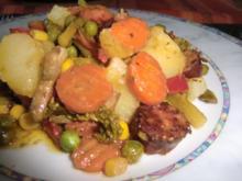 Bunte Gemüsepfanne mit Cabanossi - Rezept